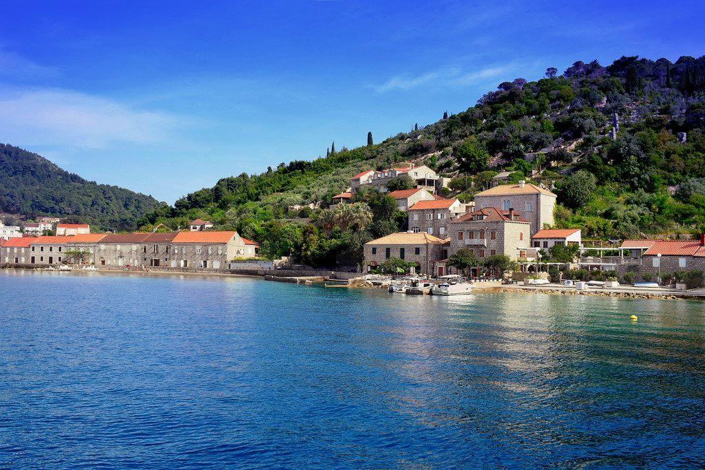 Mare Croazia dove. Lopud è una piccola isola di 4,63 chilometri quadrati al largo della costa della Dalmazia, nel sud della Croazia