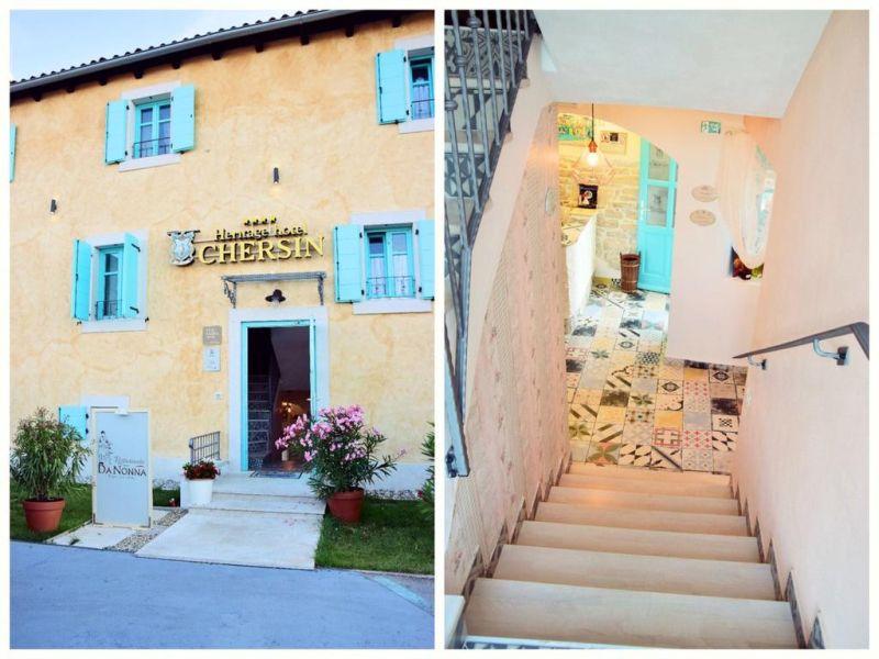 Heritage Hotel Chersin. Struttura a condizione familiare posta nel centro storico del borgo peschereccio di Fažana (Fasana), di fronte al Parco Nazionale delle Isole Brioni e a soli 100 metri dal mare e dalle spiagge